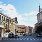 View from Calle de San Bernardo (street) in Centro district in Madrid (Spain).