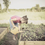 Fun baby girl watering seedlings from a watering can in the garden, kitchen garden